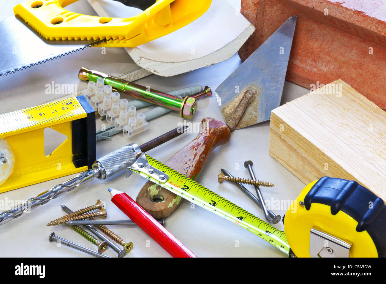Still life photo of building tools and materials - Stock Image