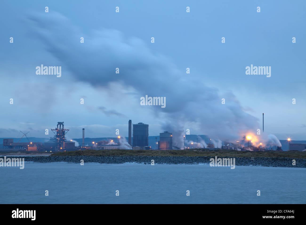 SSI's Teesside Steelworks from South gare, Redcar, North Yorkshire. - Stock Image