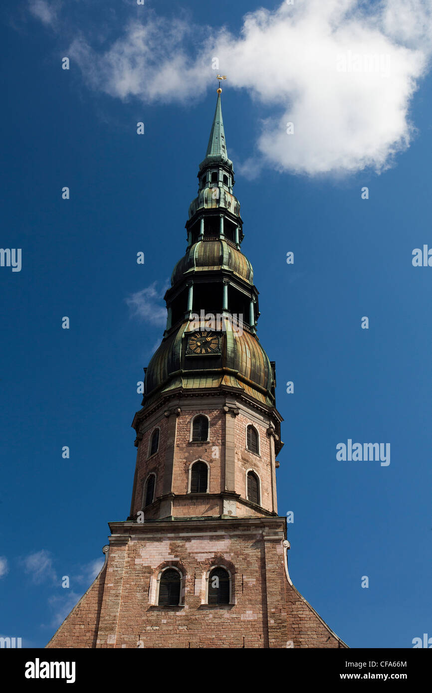 Riga, Latvia, Baltic, Europe, City, Old Town, St. Peter, Church, belfry - Stock Image