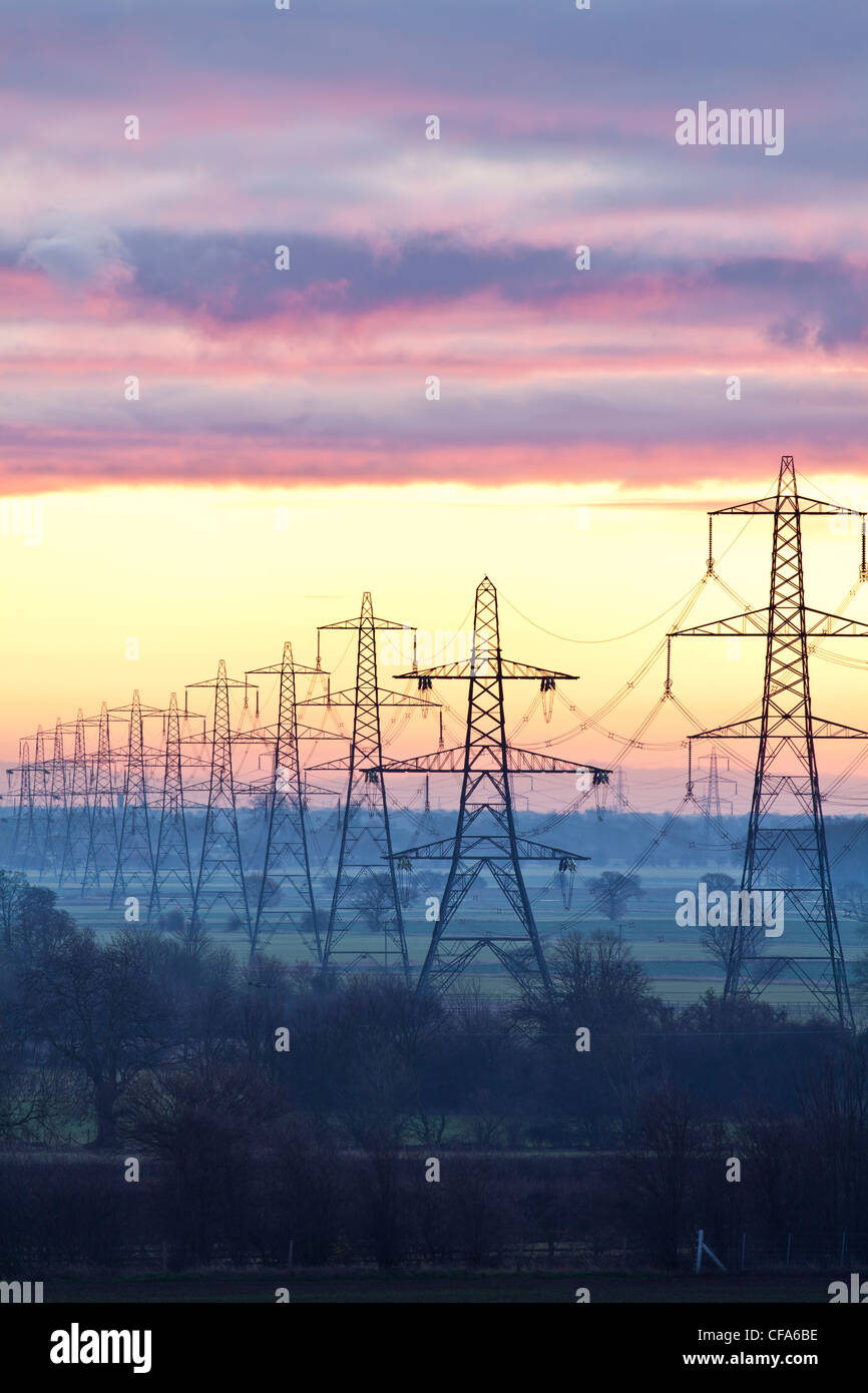 Electricity Pylons, North Yorkshire. - Stock Image