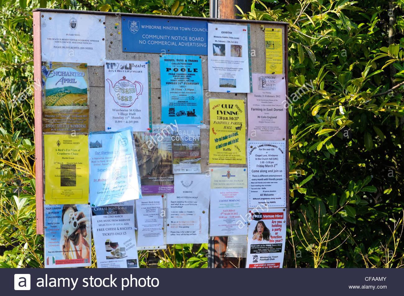 Public noticeboard, Wimborne, Dorset England - Stock Image