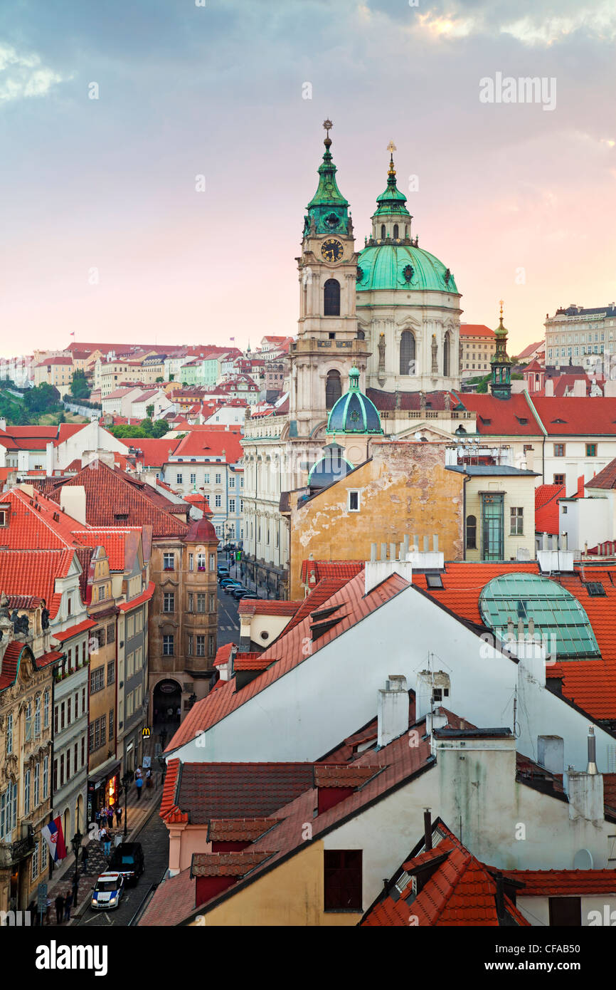Church towers and rooftops of the Prague skyline in Prague, Czech Republic - Stock Image