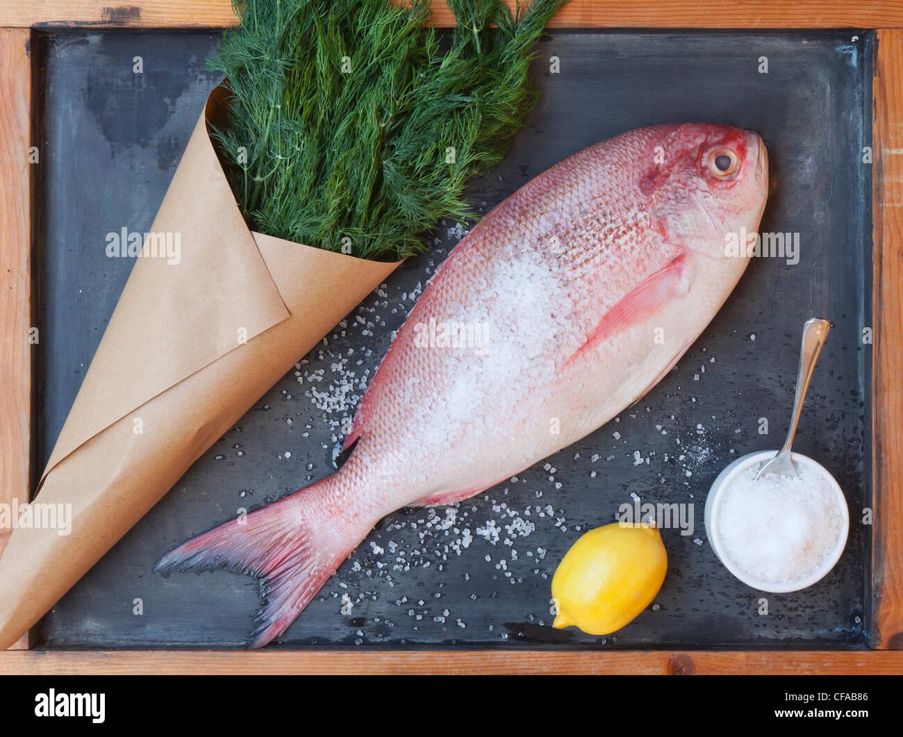 Red snapper, lemon, greens and salt - Stock Photo