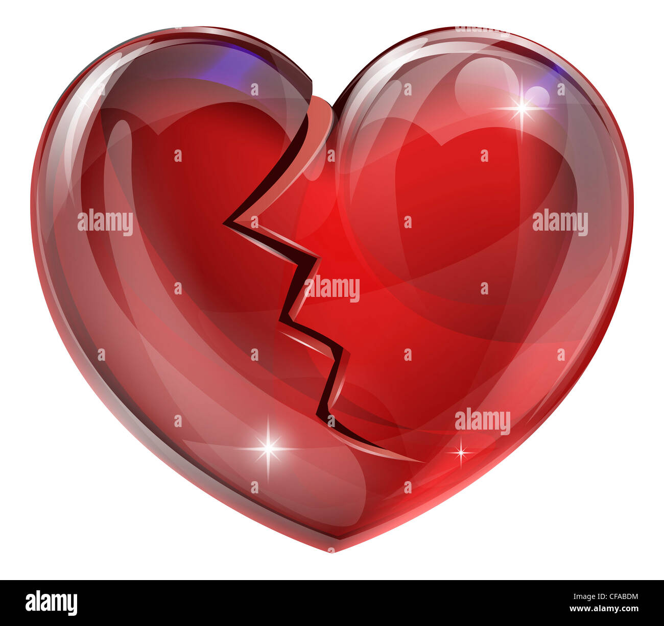 Illustration Of A Broken Heart With A Crack Concept For Heart Stock