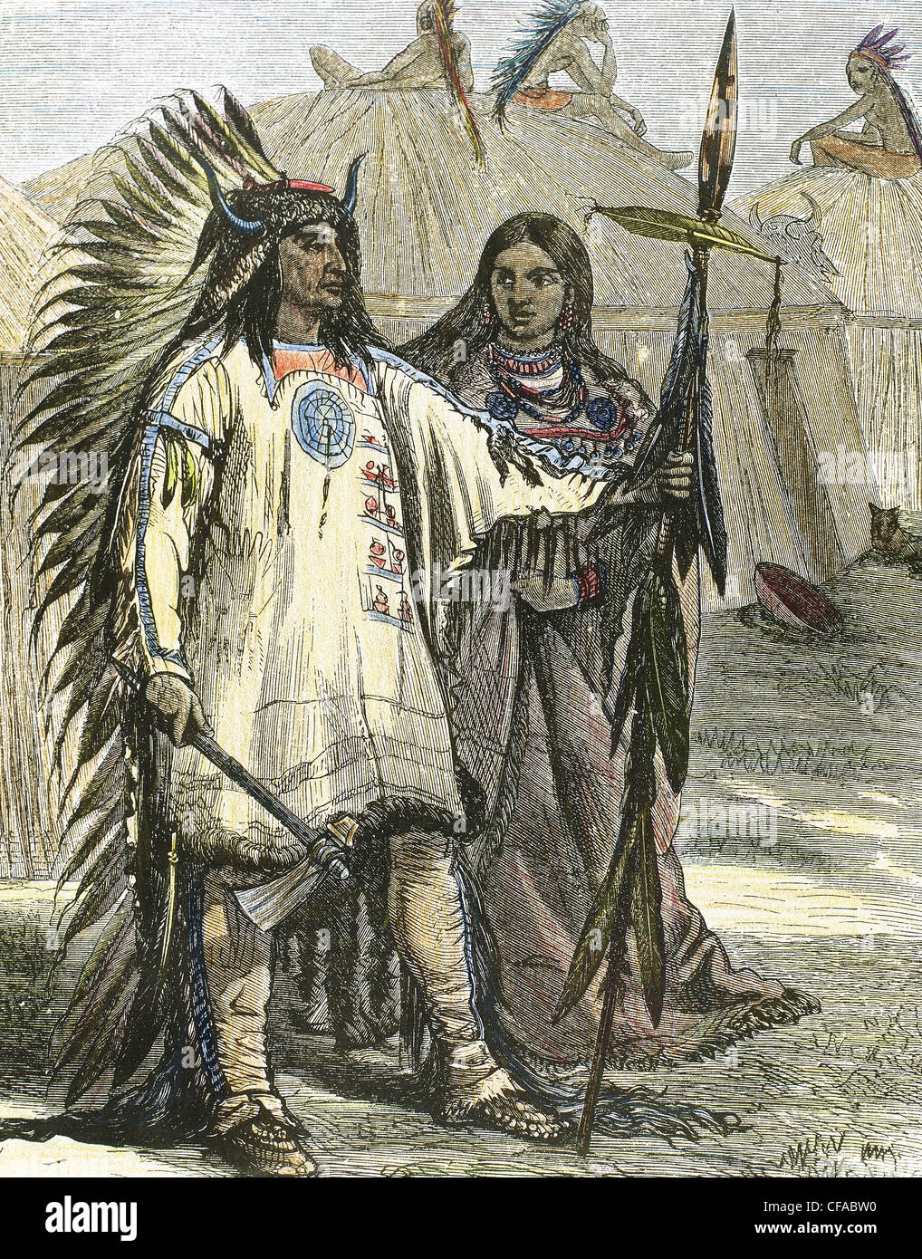 American Indians. Colored engraving, 1880. - Stock Image
