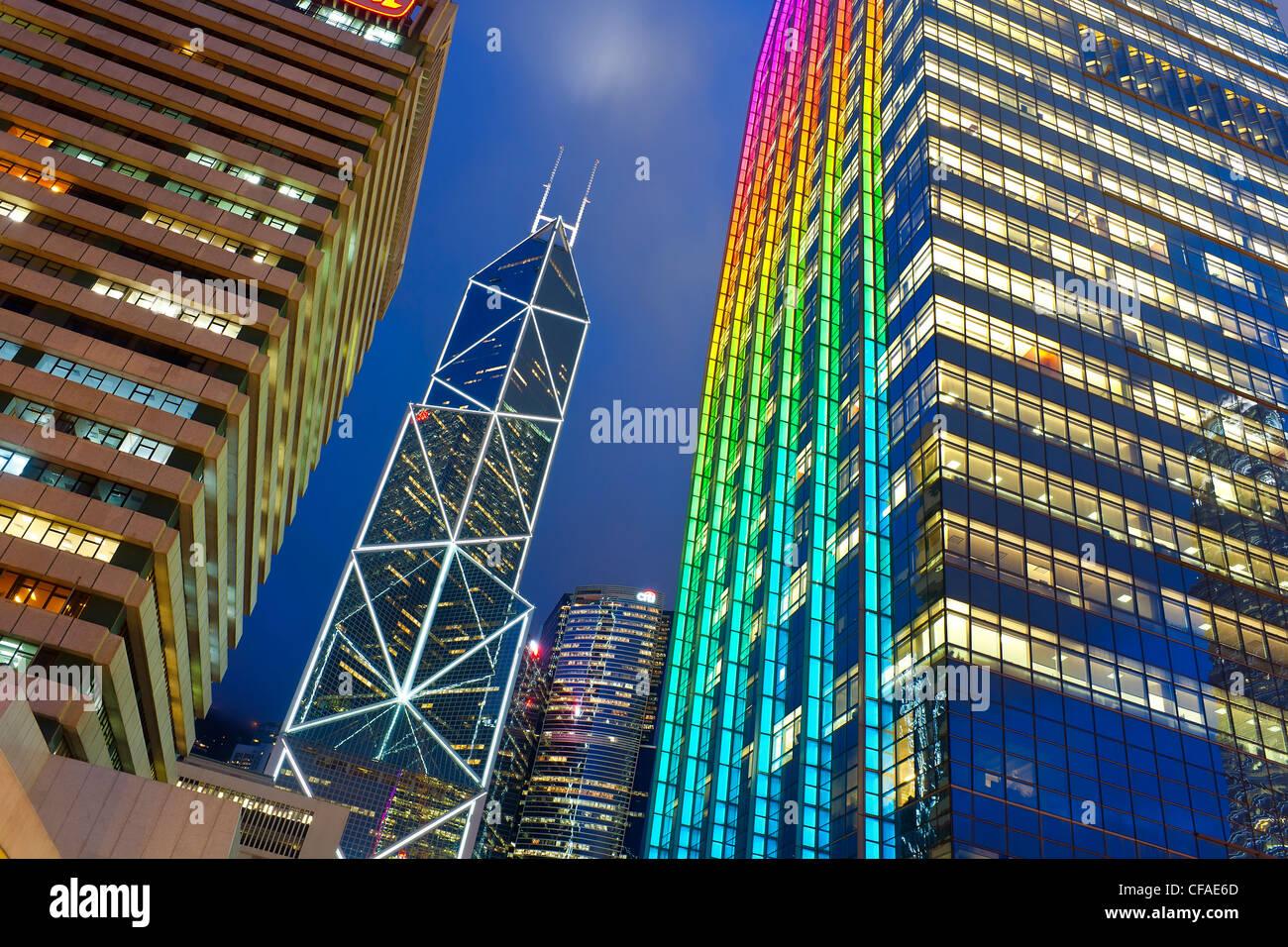 Hong Kong skyline at dusk, Central business and financial district, Bank of China building, Hong Kong Island, China - Stock Image