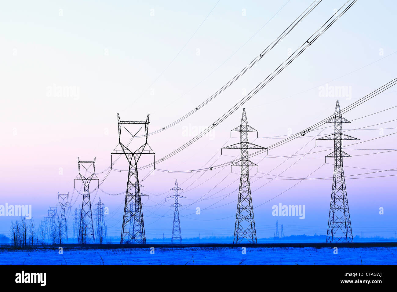 Pleasant Power Transmission Towers At Dusk Near Winnipeg Manitoba Canada Wiring Digital Resources Cettecompassionincorg