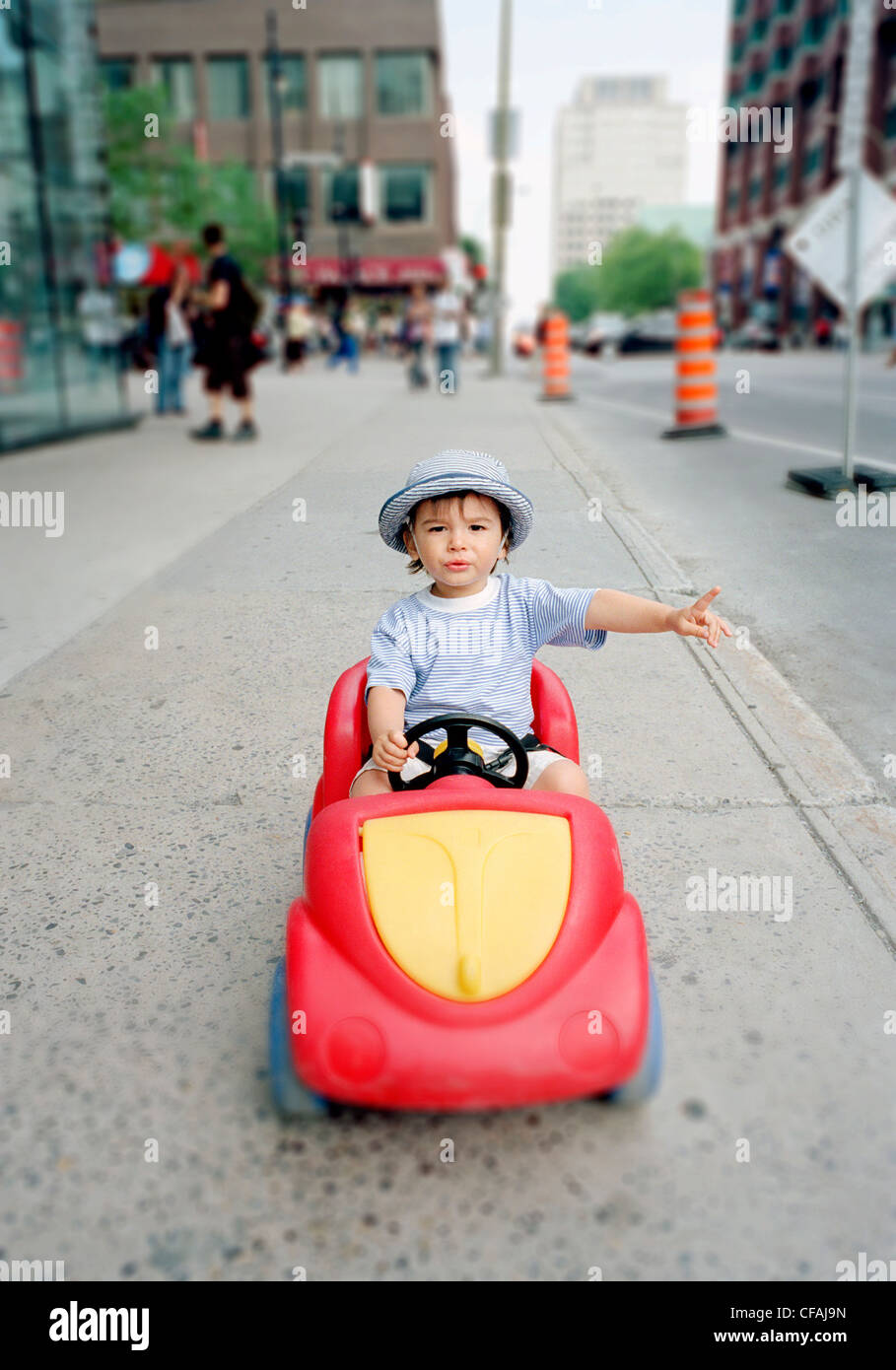 twenty month old eurasian boy / child toy plastic - Stock Image