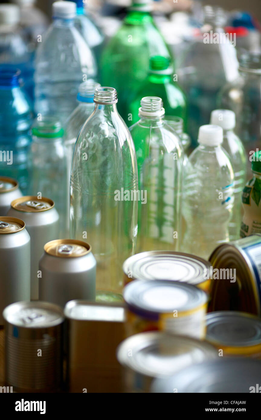 grouping of recyclable material glass, plastic amd metal, Montreal, Quebec, Canada. - Stock Image