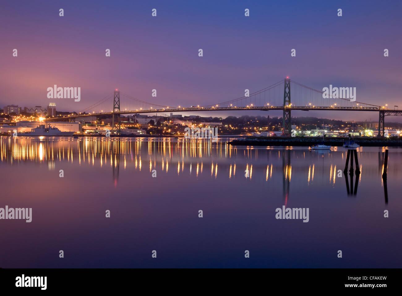 Angus L. Macdonald Bridge and Halifax Harbour, Halifax, Nova Scotia, Canada - Stock Image