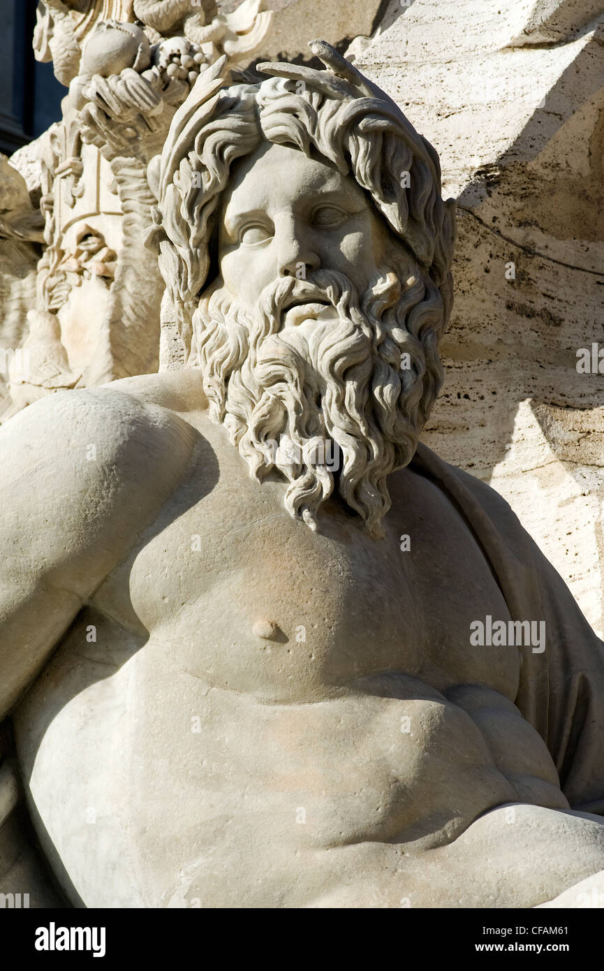 Detail of the Four Rivers Fountain, Piazza Navona, Rome, Latium, Italy - Stock Image