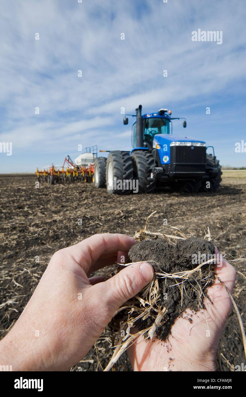 man examines soil canolresidue tractor air till - Stock Image