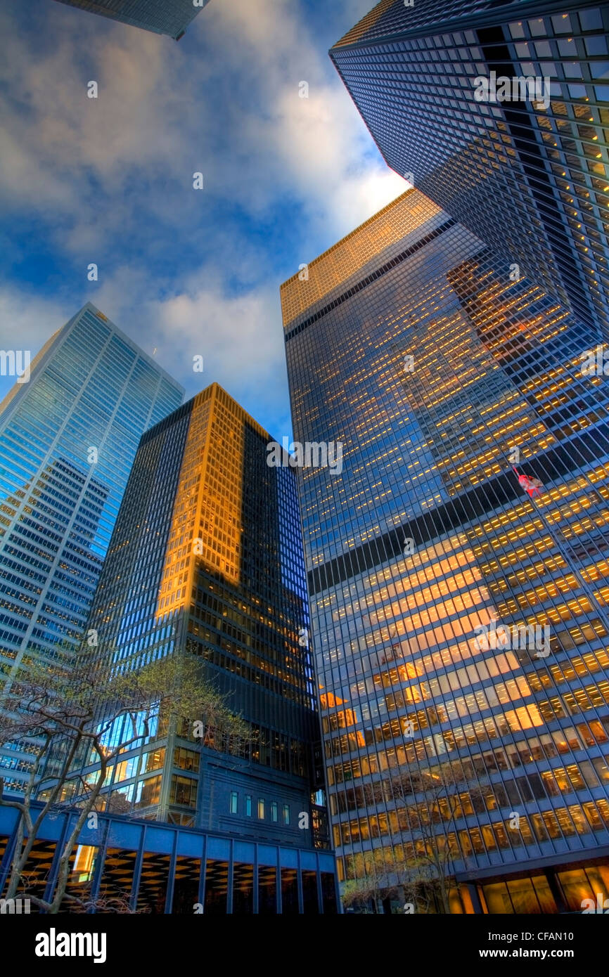 Low angle view of King Street office towers, Toronto, Ontario, Canada - Stock Image