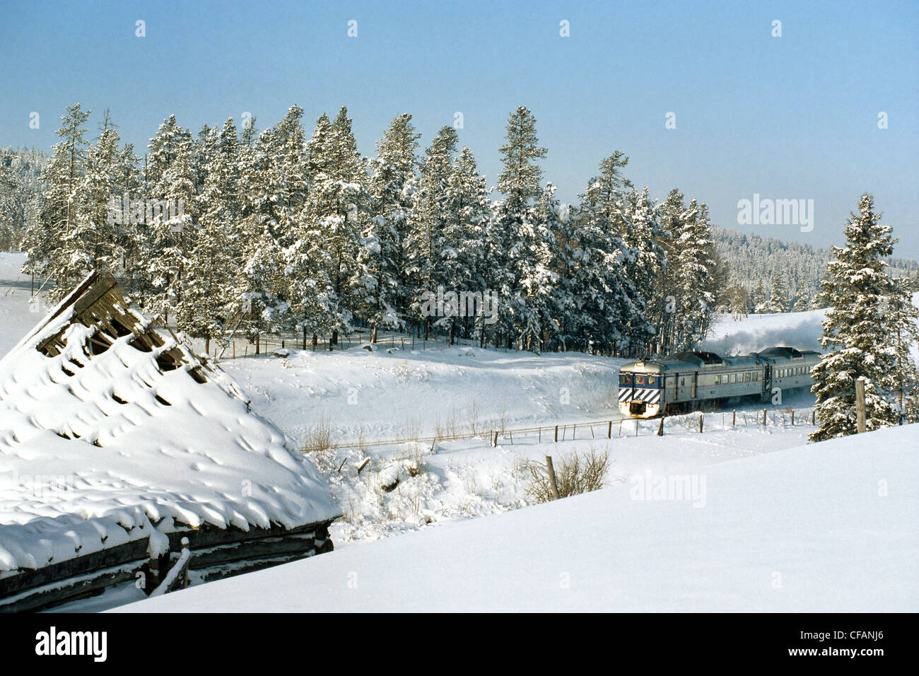 BC Rail Prospector passenger train travelling through the Cariboo region of British Columbia, Canada - Stock Image