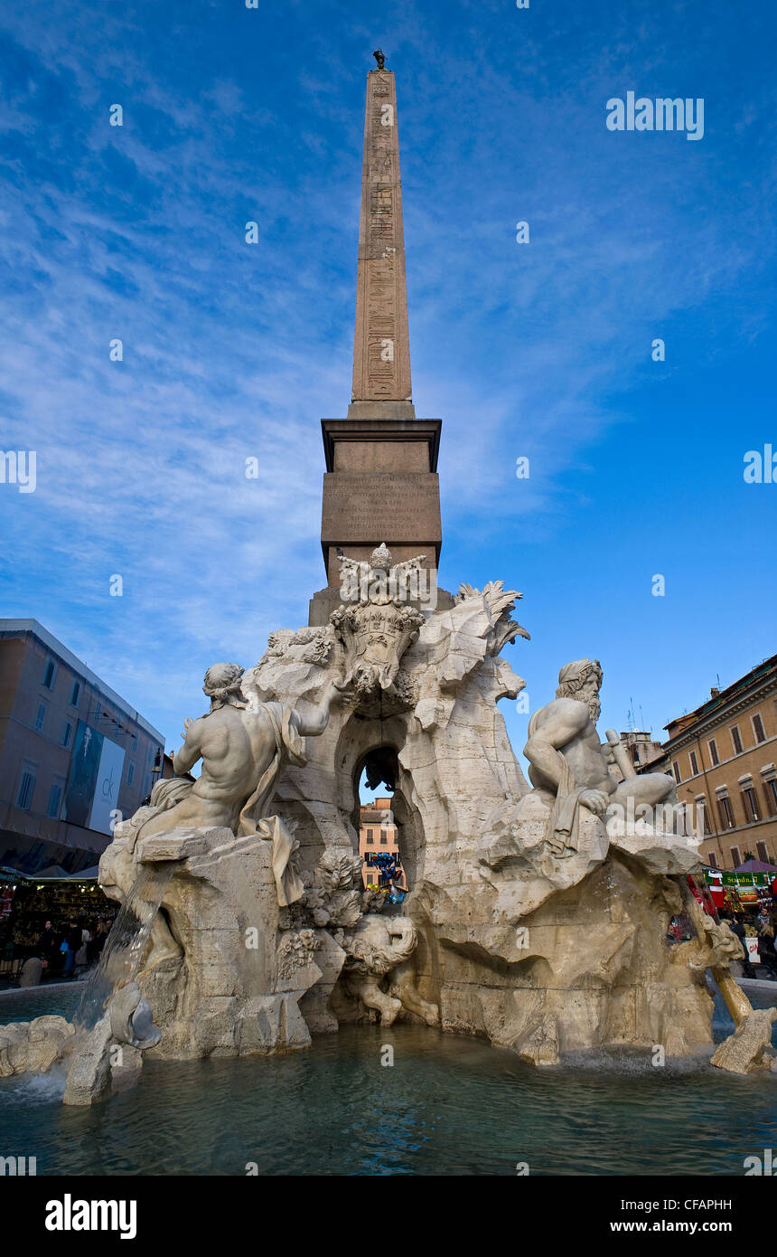 The Four Rivers Fountain, Piazza Navona, Rome, Latium, Italy Stock Photo
