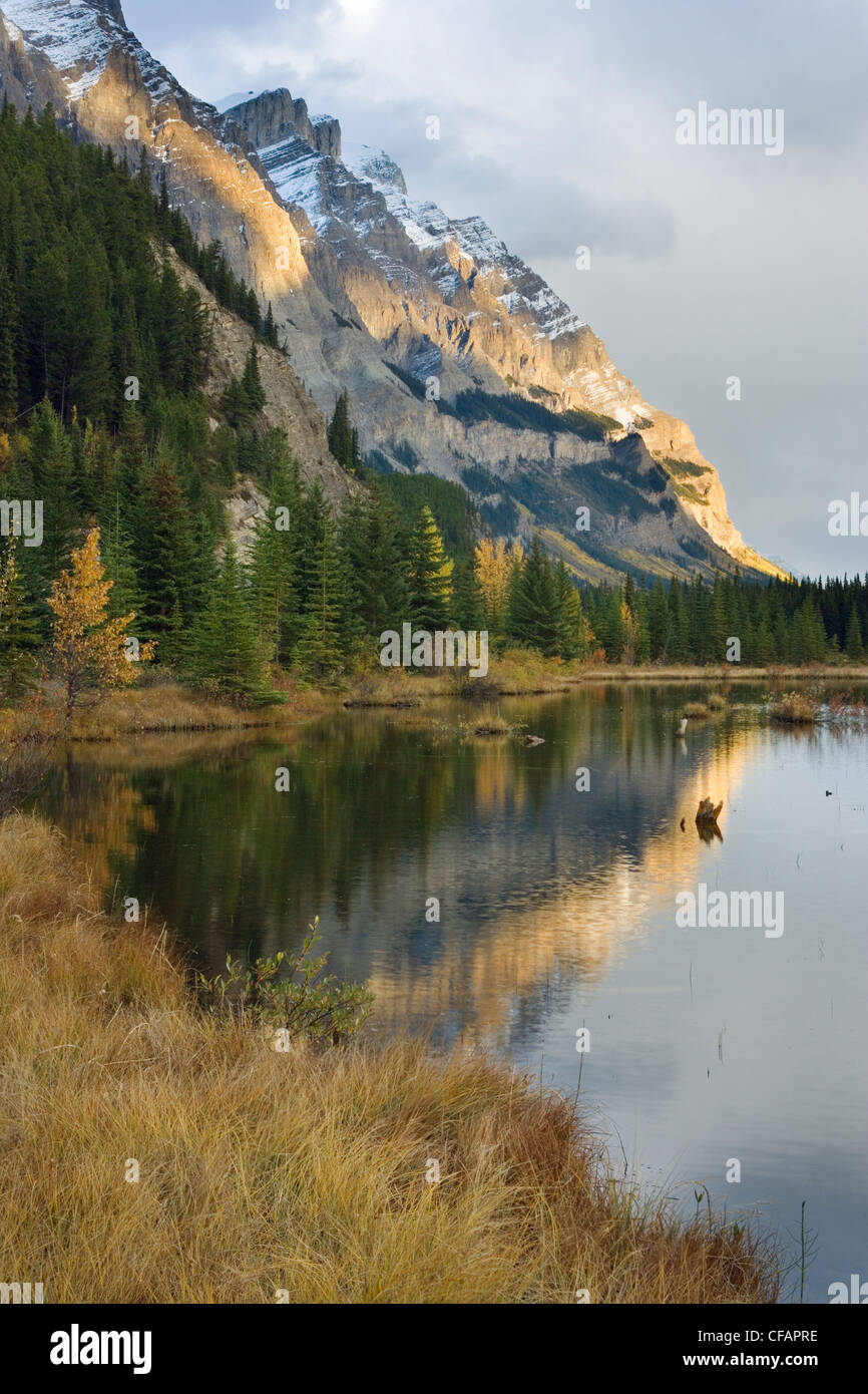 Mount Wilson and the Rampart Ponds in fall, Banff National Park, Alberta, Canada - Stock Image