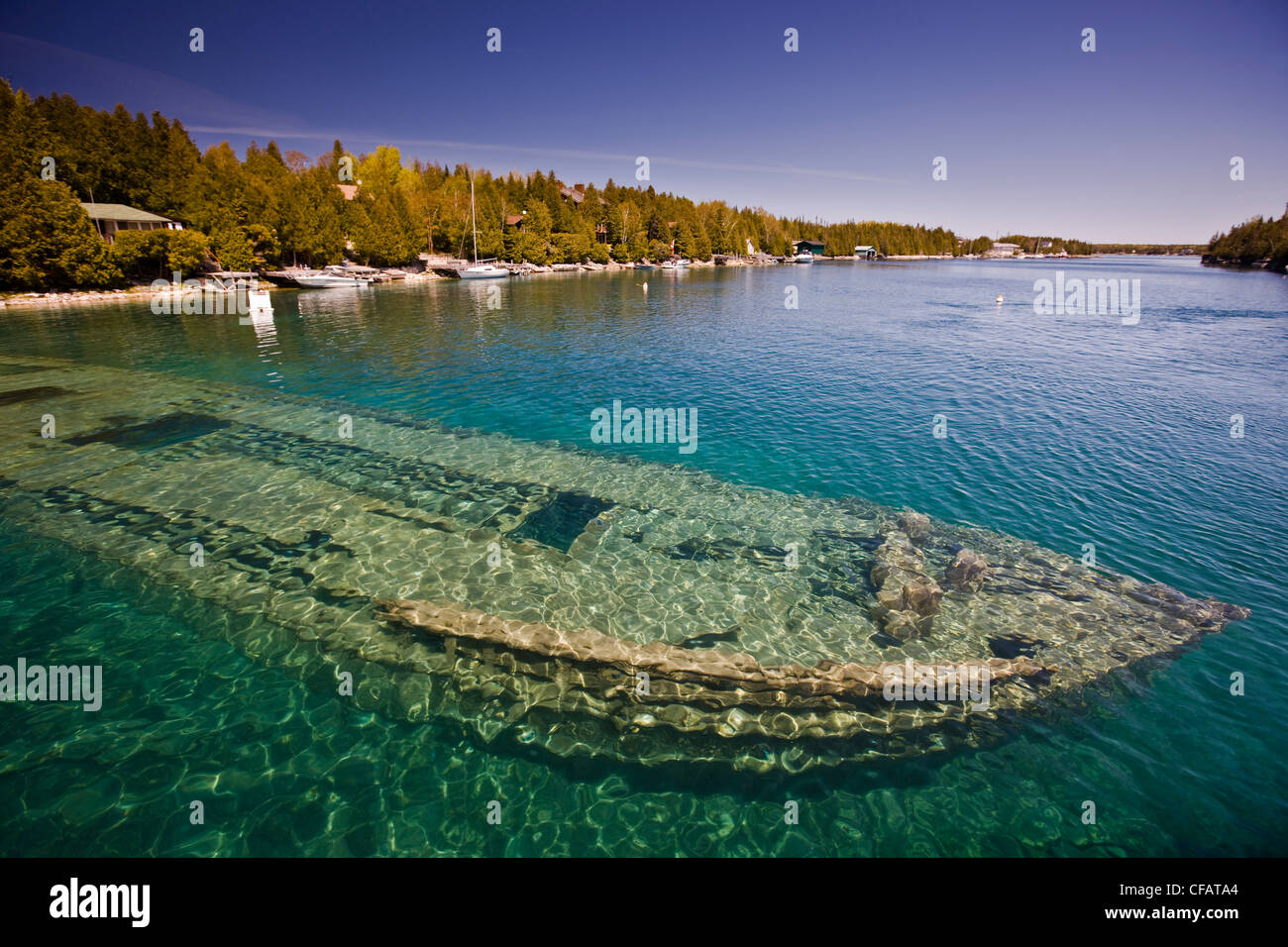 Shipwreck of the Sweepstakes (built in 1867) in Big Tub Harbour, Fathom Five National Marine Park, Lake Huron, Ontario, - Stock Image