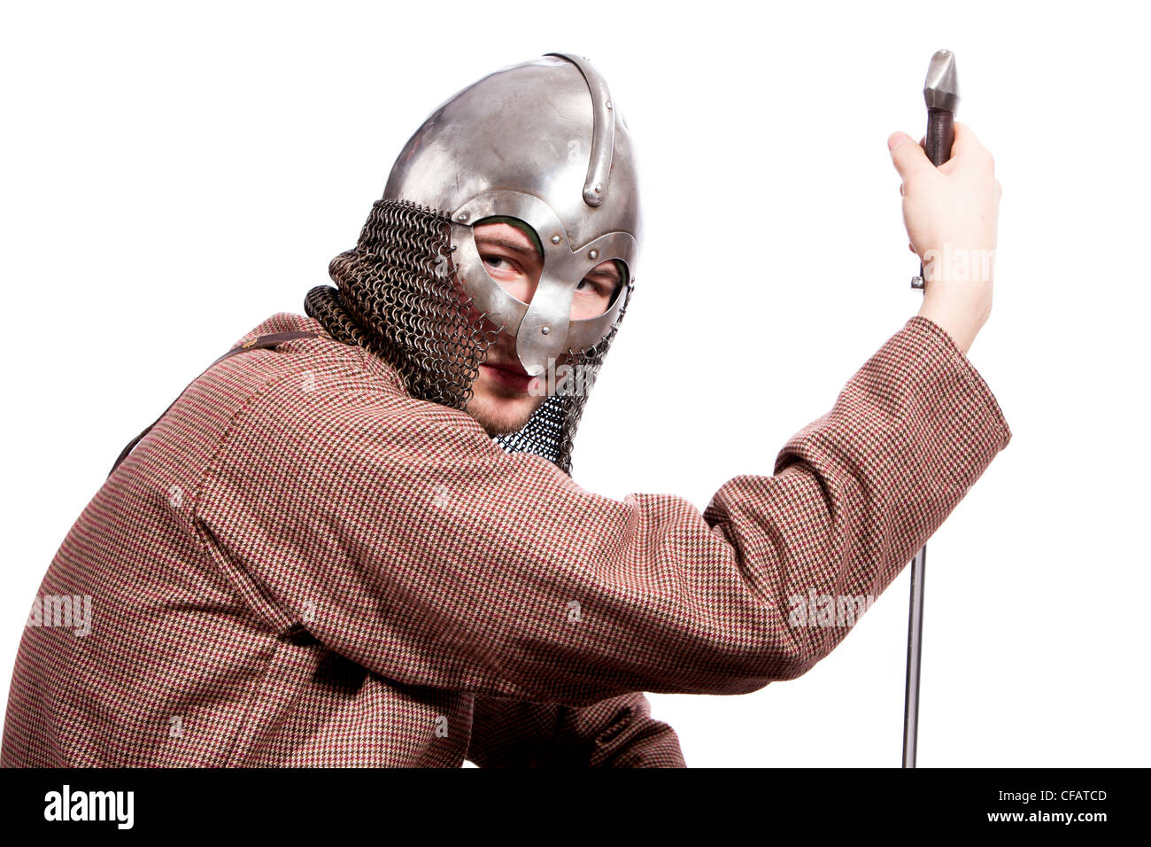 Young man in Viking armor - Stock Image