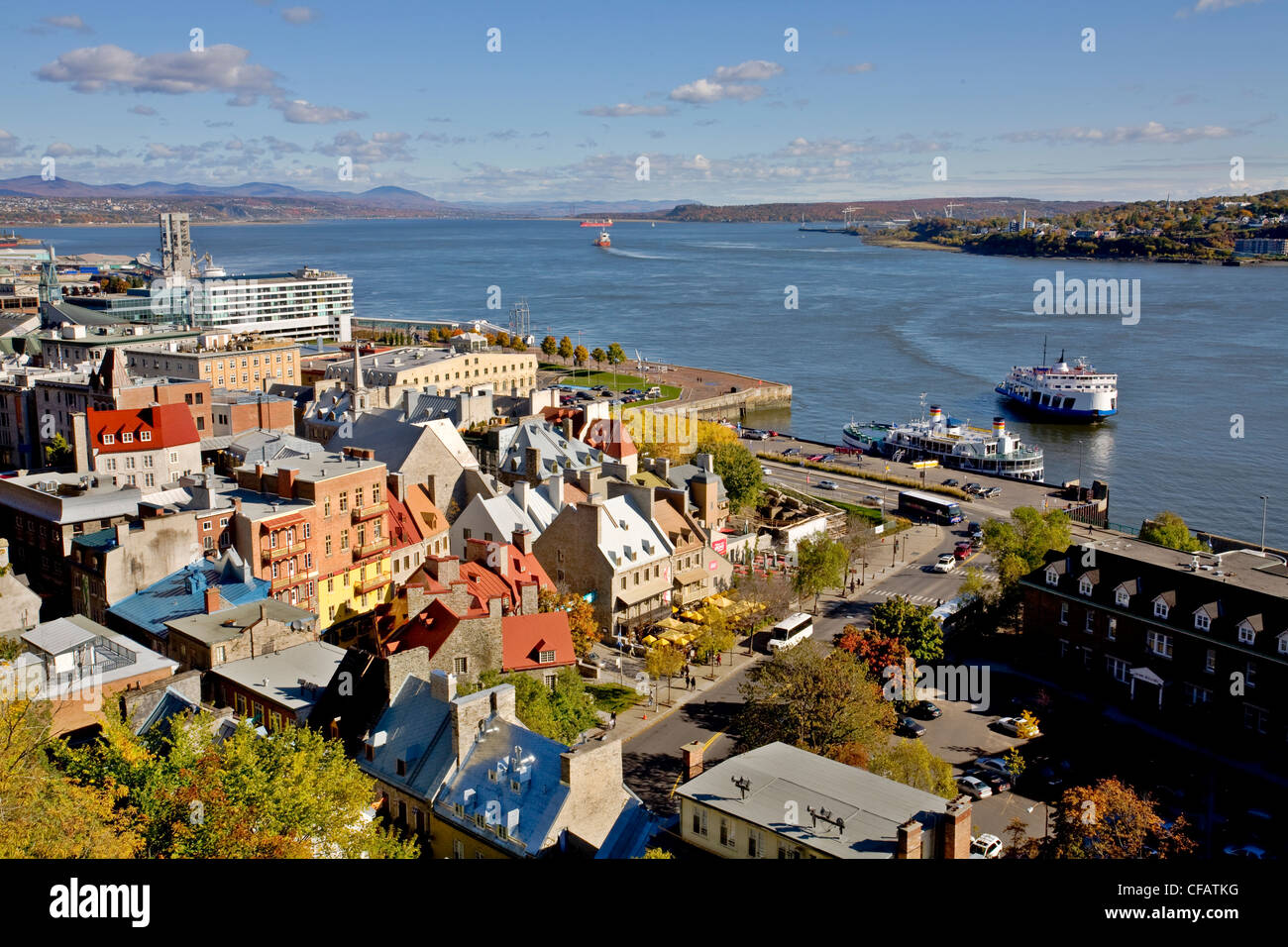 St. Lawrence River and Old Quebec City, Quebec, Canada - Stock Image