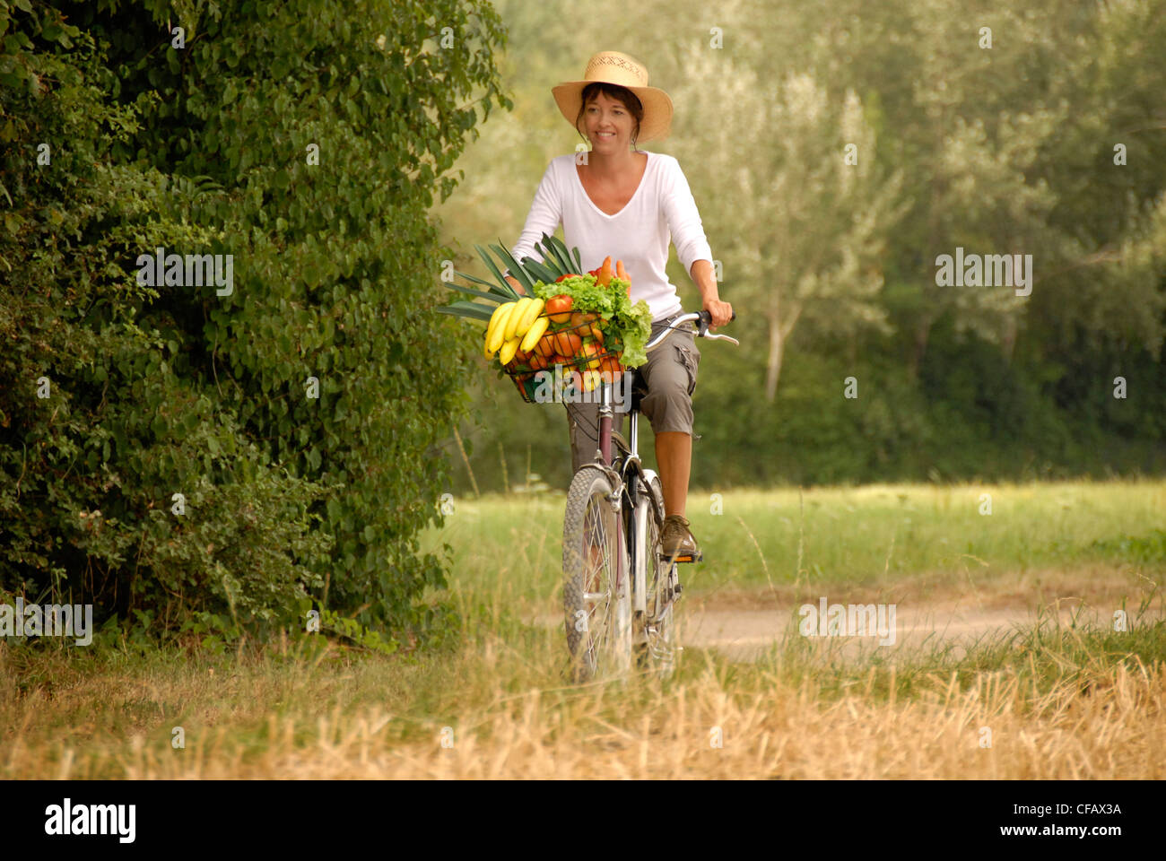 Summer, food, nutrition, land life, health, vegetables, fruits, purchase, vitamins, bicycle, bike, healthy, woman, Stock Photo