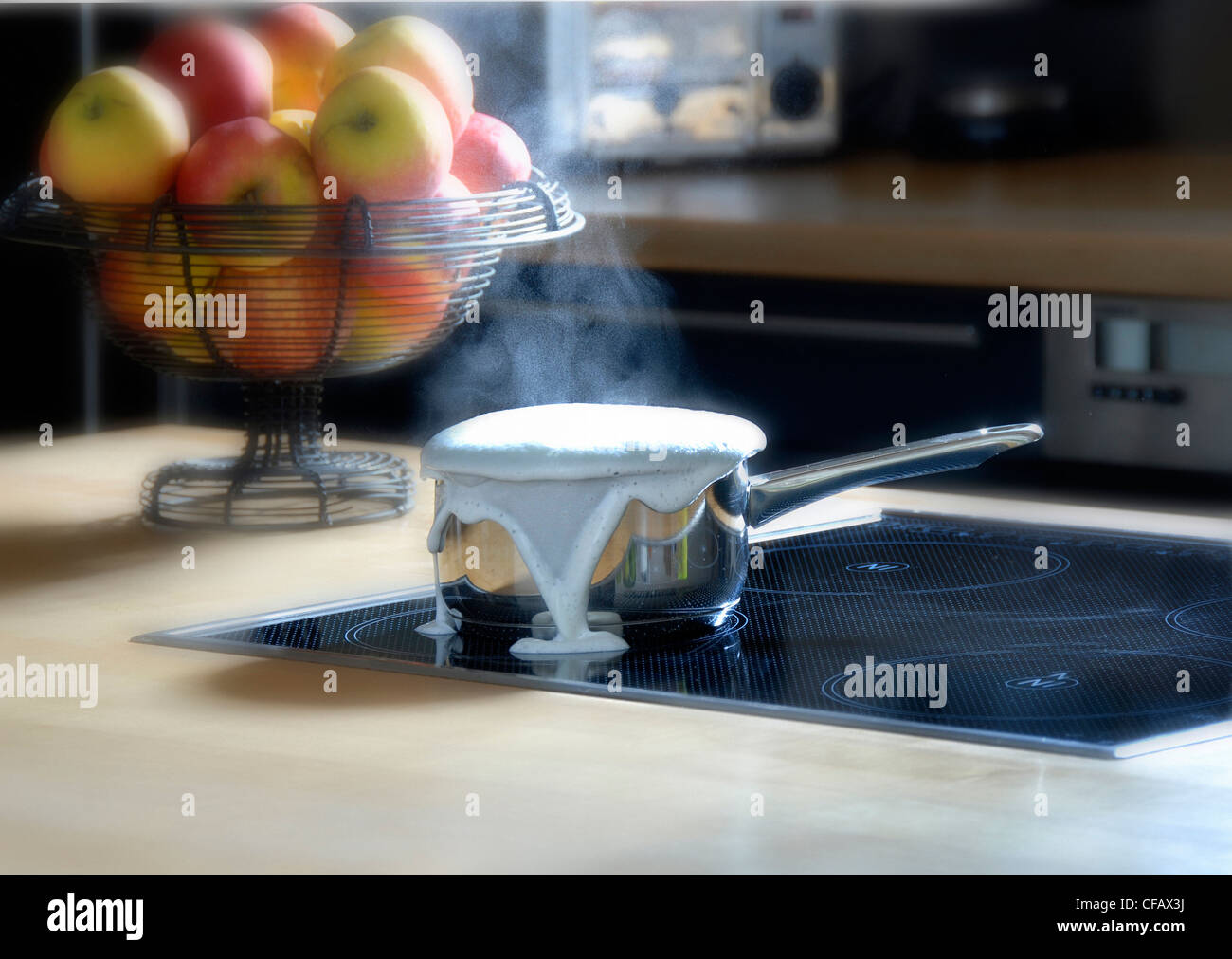 cook, cooker, cleaning, milk, boil over, household, overboil