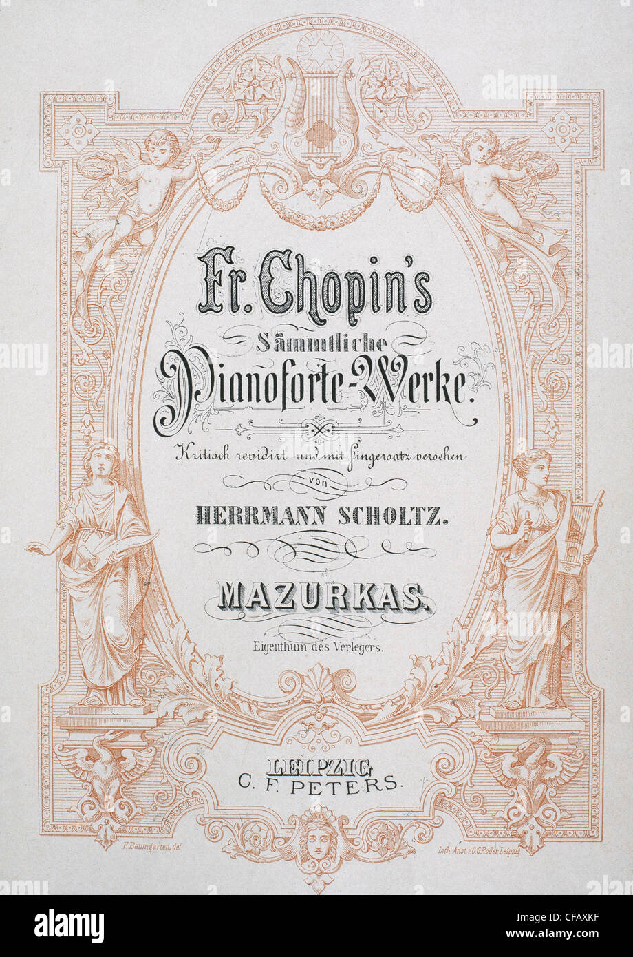 Frederic Chopin (1810-1849). Polish composer. Frontispiece of a mazurka for the pianoforte. - Stock Image