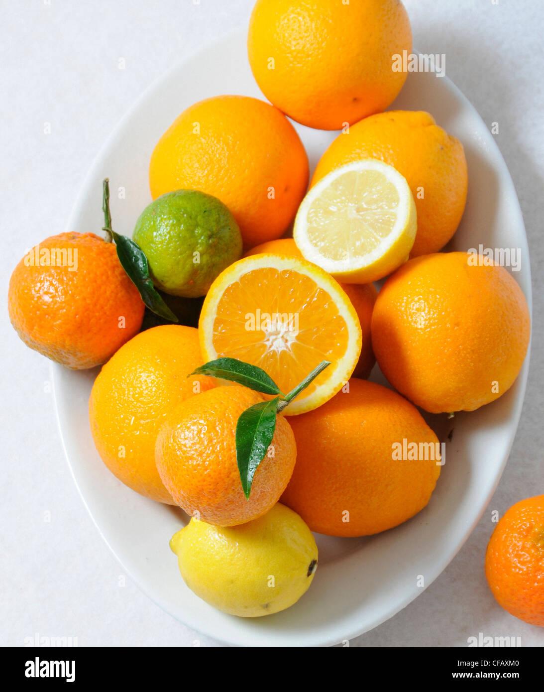 Vitamins, vitamin C, oranges, lemon, fruits Citrus fruit, food, eating, - Stock Image