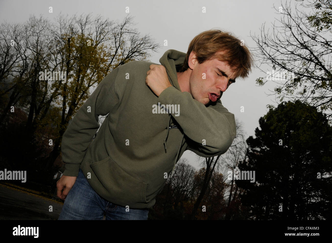 Man, Autumn, fall, gray, cold, ill, sick, cough, winter, coldly, health - Stock Image