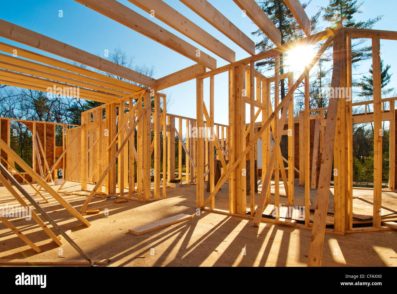 Interior framing of a house under construction Stock Photo: 43881208 ...