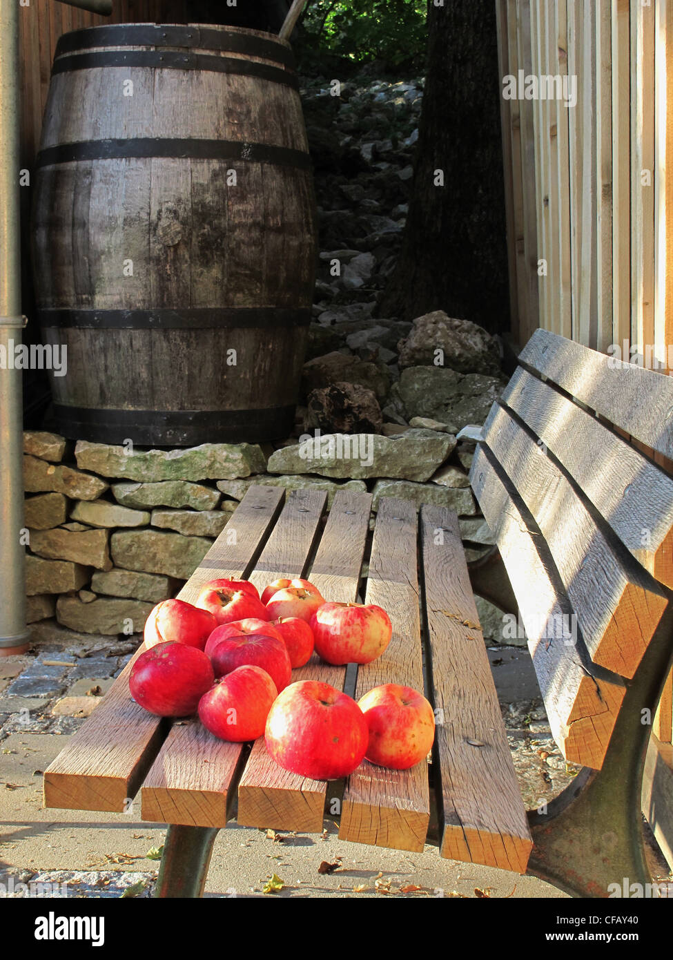 Miraculous Fruits Apples Red Bench Seat Wood Barrel Wooden Gmtry Best Dining Table And Chair Ideas Images Gmtryco