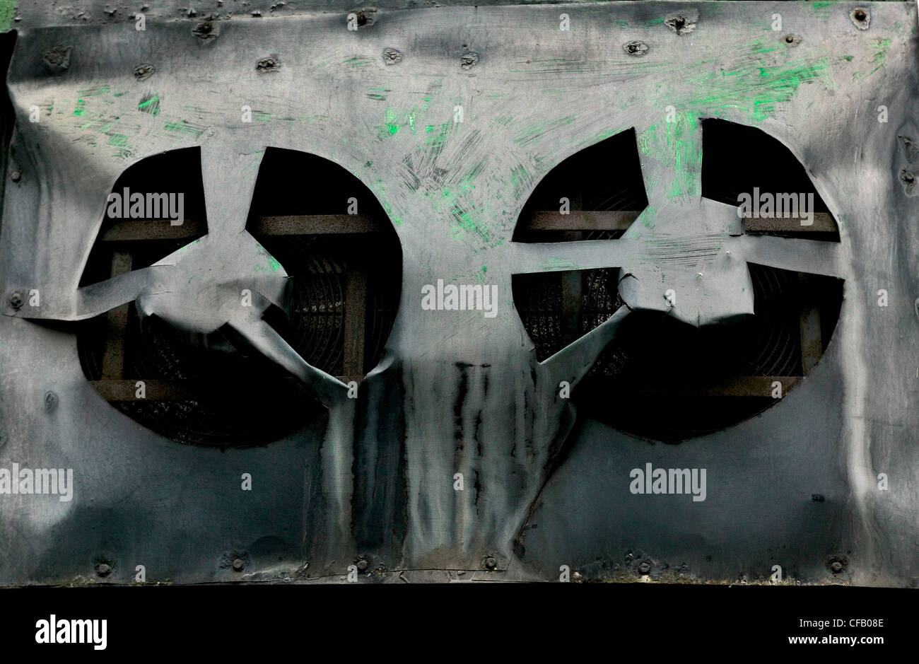 Old extractor fans at the back of a restaurant, - Stock Image