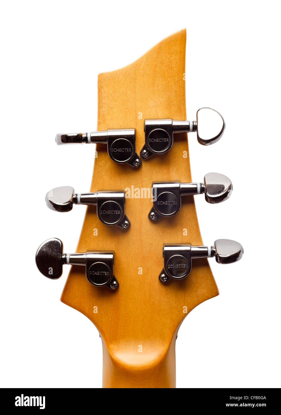 Electric guitar headstock showing string tuners - Stock Image