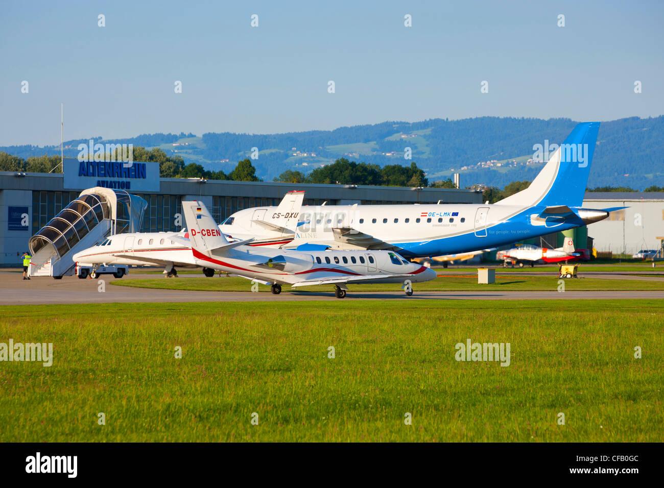 Altenrhein, airfield, Switzerland, canton St. Gallen, airplanes, jet planes, - Stock Image