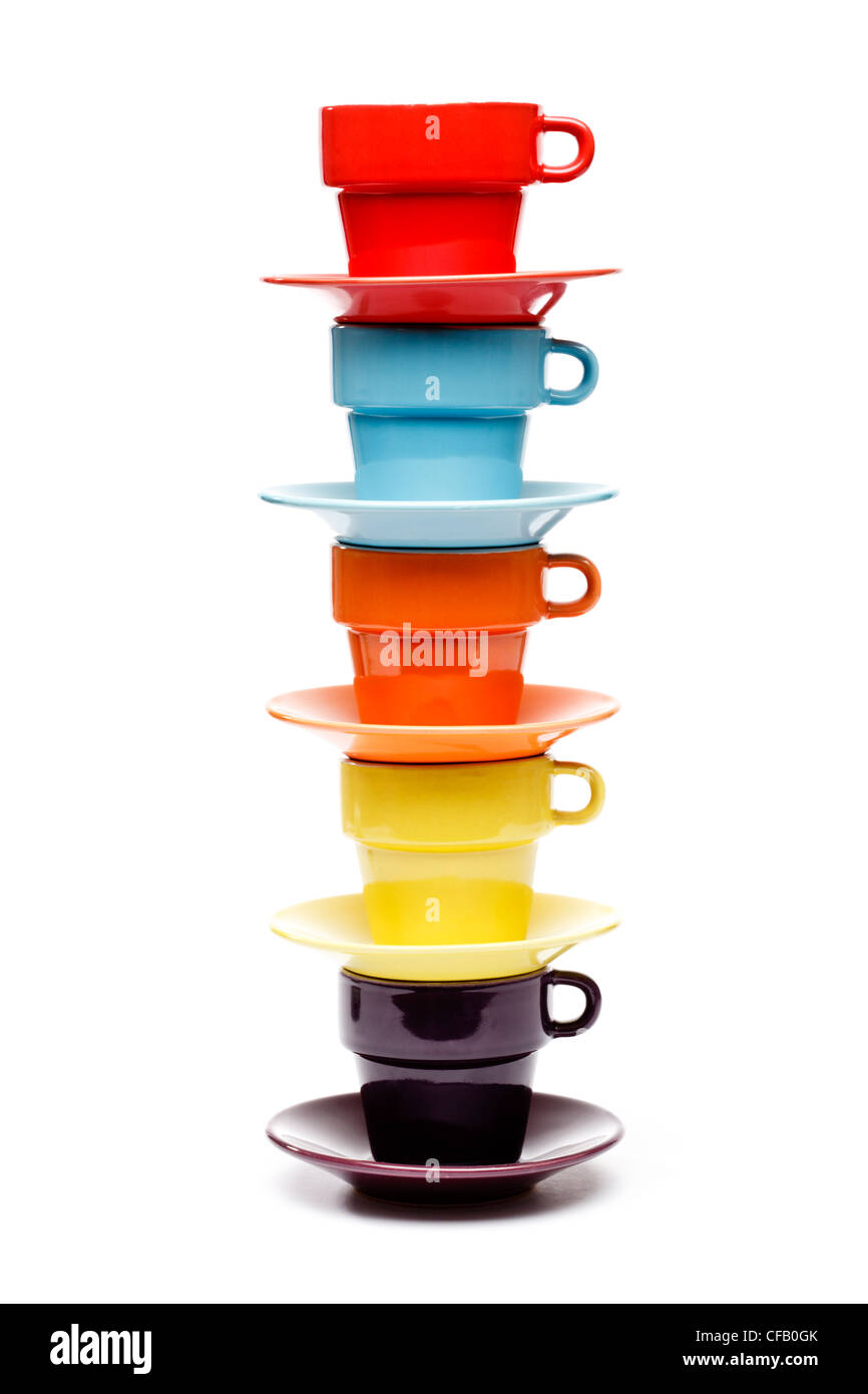 Colors - Stack of coffee cups on white background - Stock Image