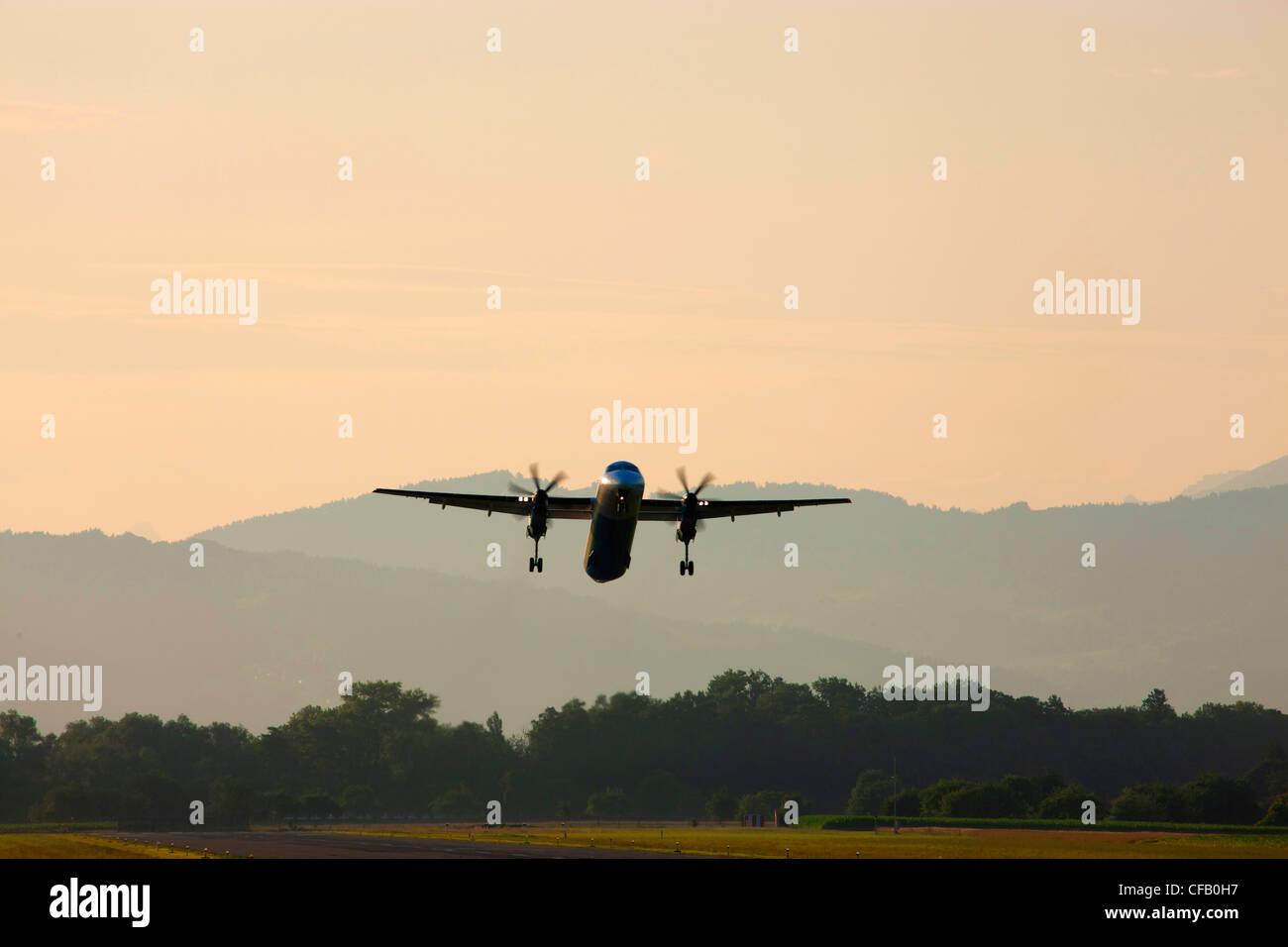 Altenrhein, airfield, Switzerland, canton St. Gallen, airplane, propeller airplane, start, - Stock Image