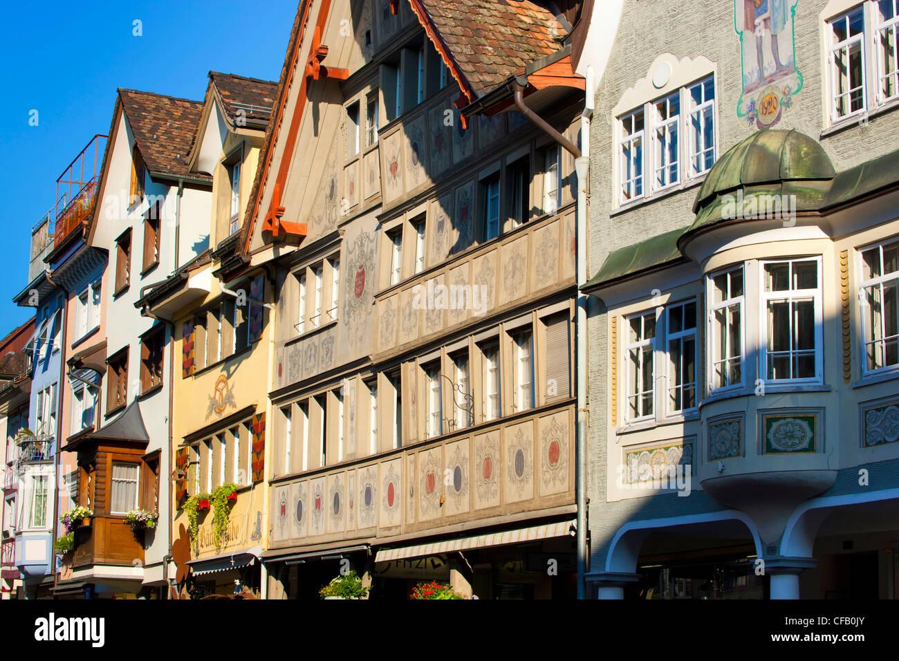 Altstätten, Switzerland, canton St. Gallen, Rhine Valley, town, city, Old Town, houses, homes, facades, windows, - Stock Image