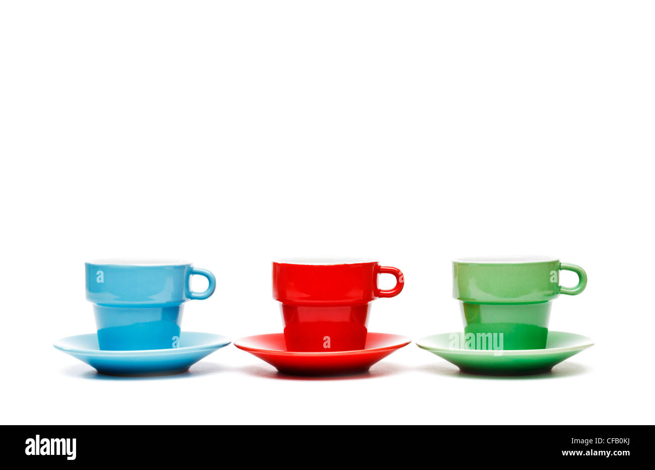 Three coffee cups - Stock Image