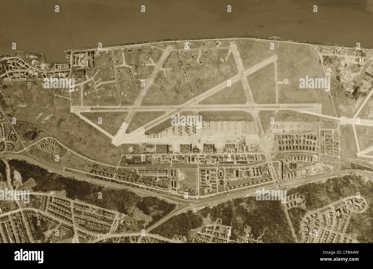 historical aerial photograph Bolling Air Force Base Washington D.C., 1949 - Stock Image