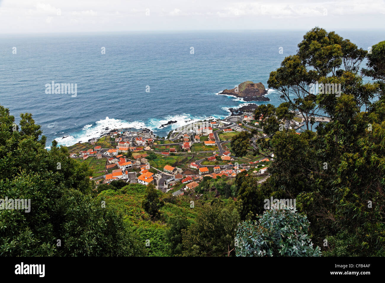 Europe, Portugal, Republica Portuguesa, Madeira, Porto Moniz, street, Porto Moniz, plants, trees, mountains, islands, - Stock Image