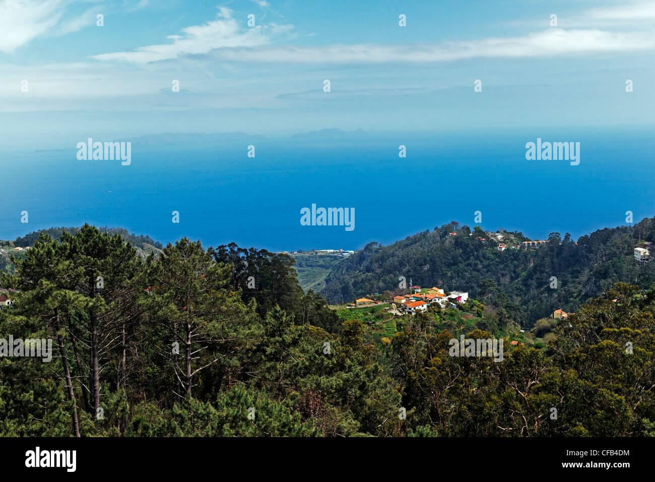 Europe, Portugal, Republica Portuguesa, Madeira, Camacha, Largo Conselheiro Aires de Omelas, Mirador, trees, buildings, - Stock Image