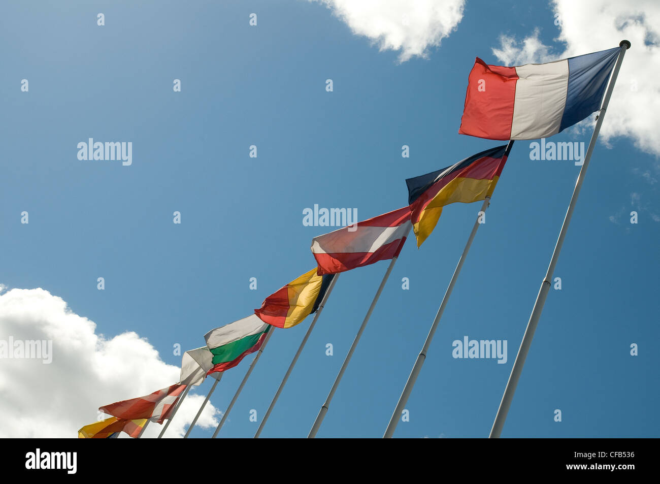 European flags in the sky. - Stock Image