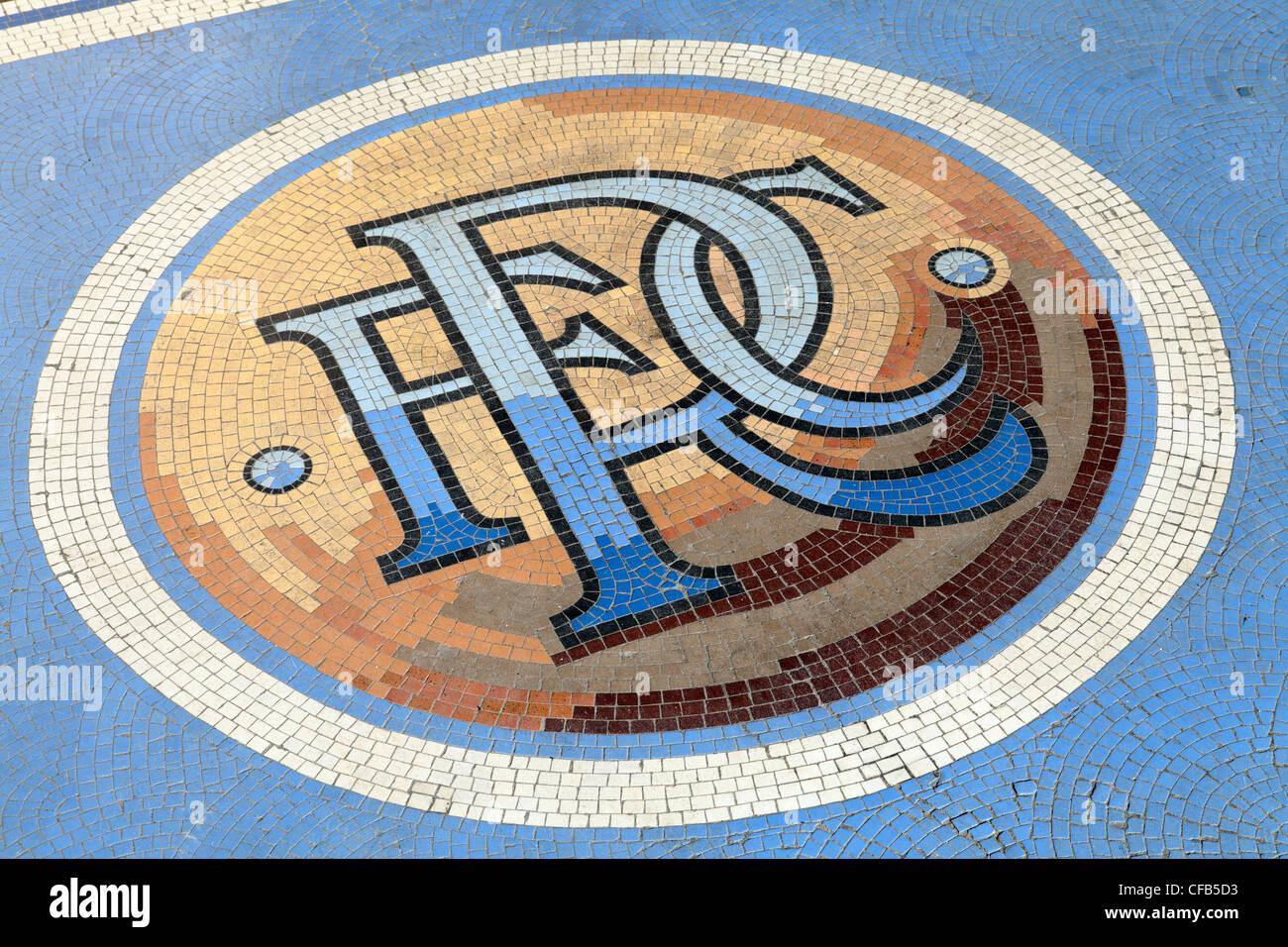 A mosaic of the Glasgow Rangers Football Club crest at Ibrox Stadium, Scotland, UK - Stock Image