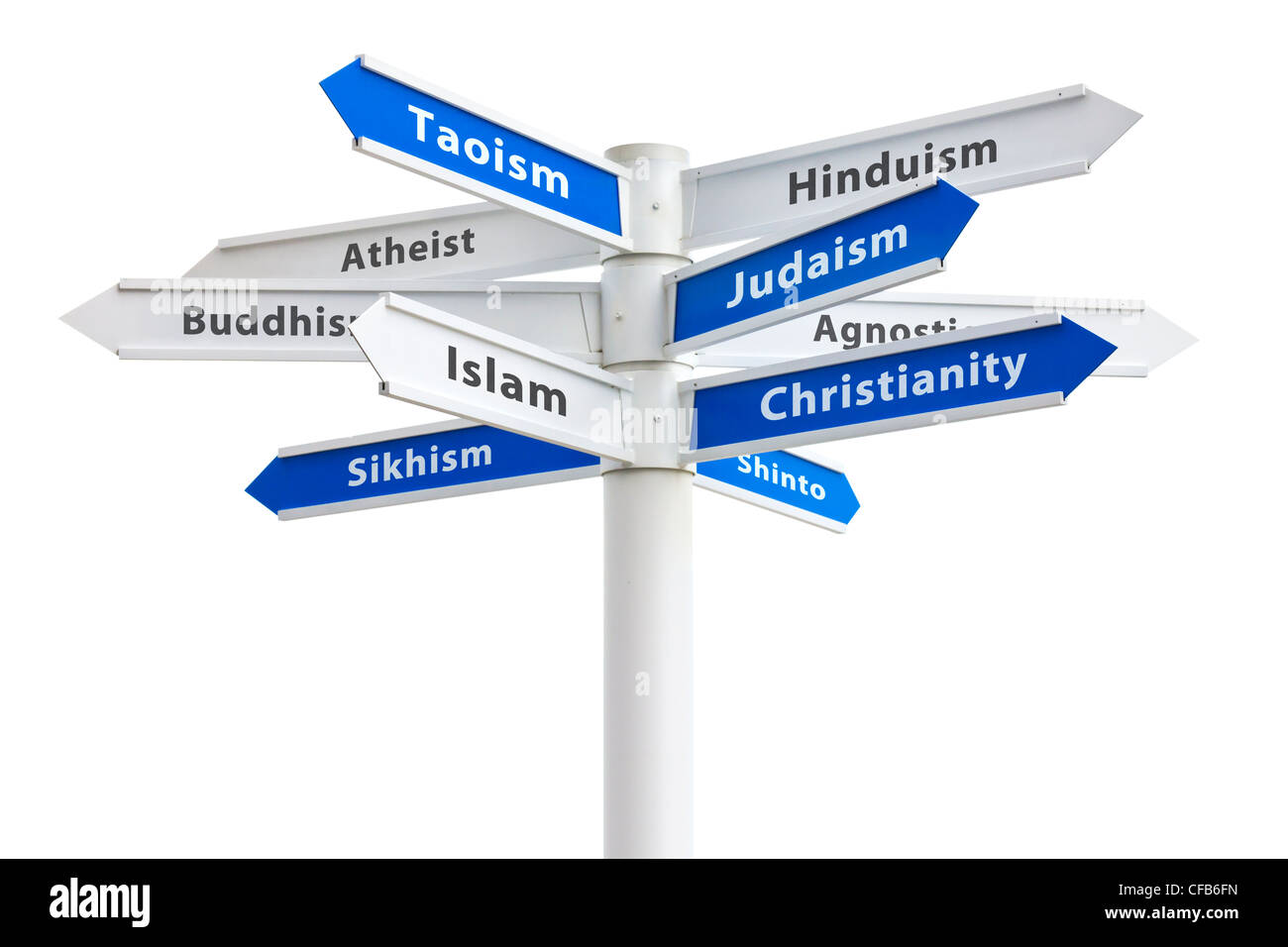 Major religions of the world on a crossroads sign. Featuring: Christianity, Islam and Judaism - Stock Image
