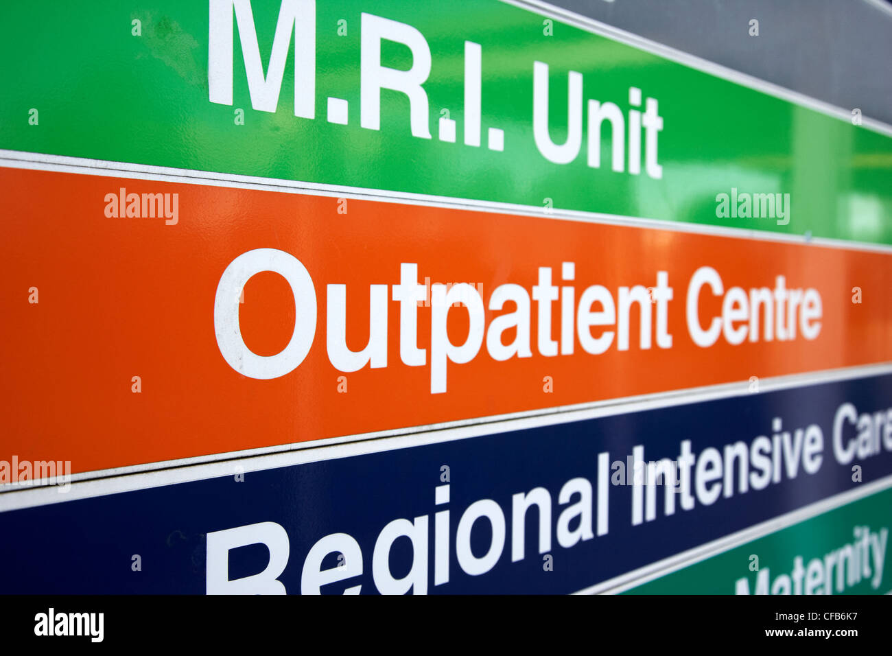 outpatient centre nhs hospital direction signs signpost Belfast Northern Ireland UK - Stock Image