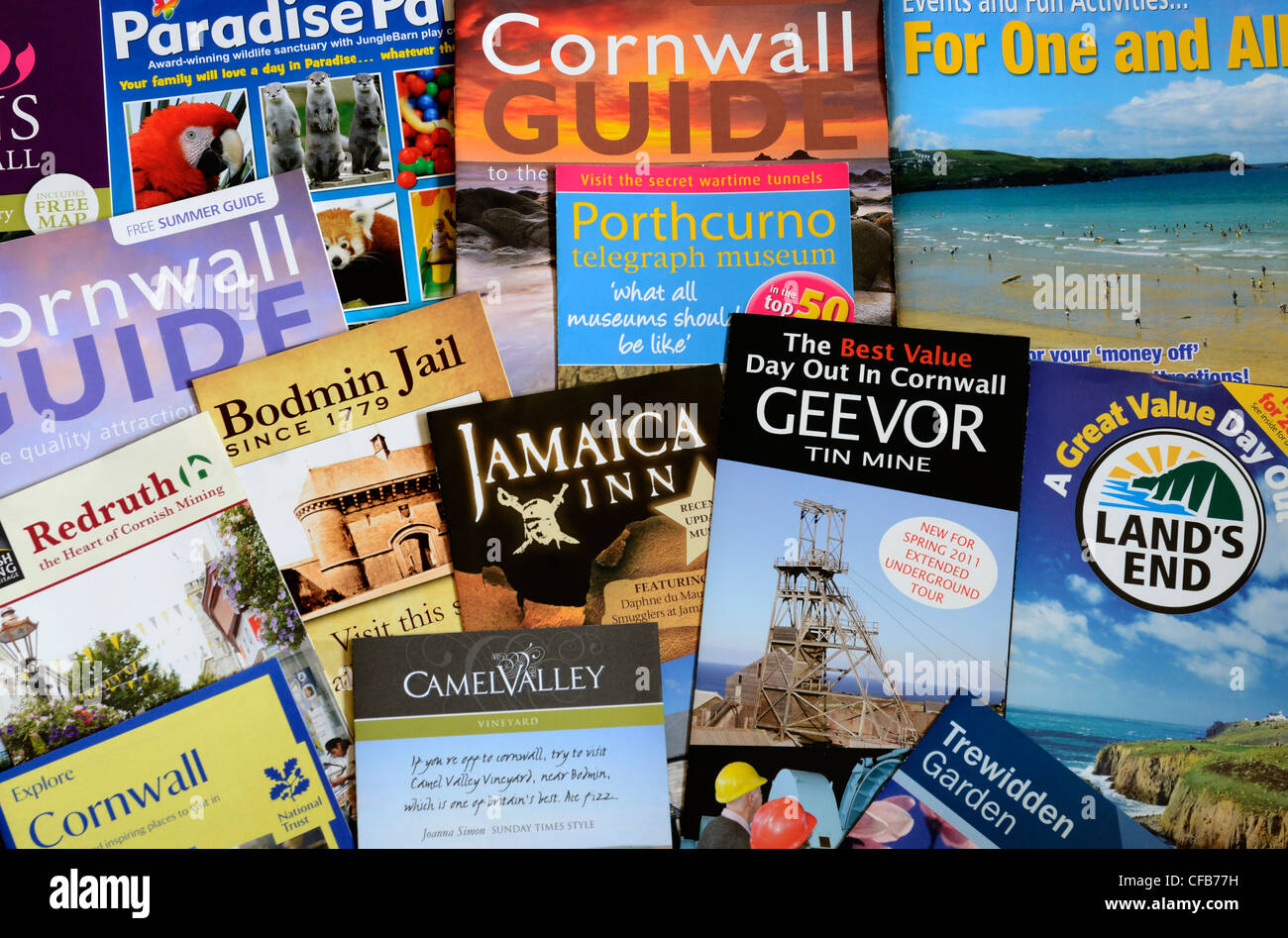A selection of visitors guides for Cornwall, UK - Stock Image