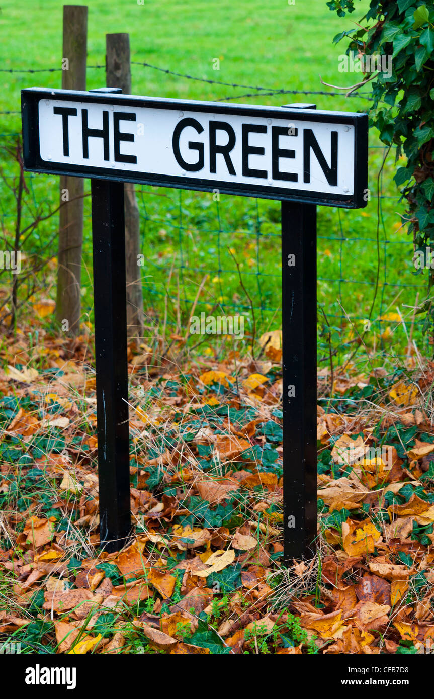 Sign for 'The Green' in the village of Cosgrove, Northamptonshire - Stock Image