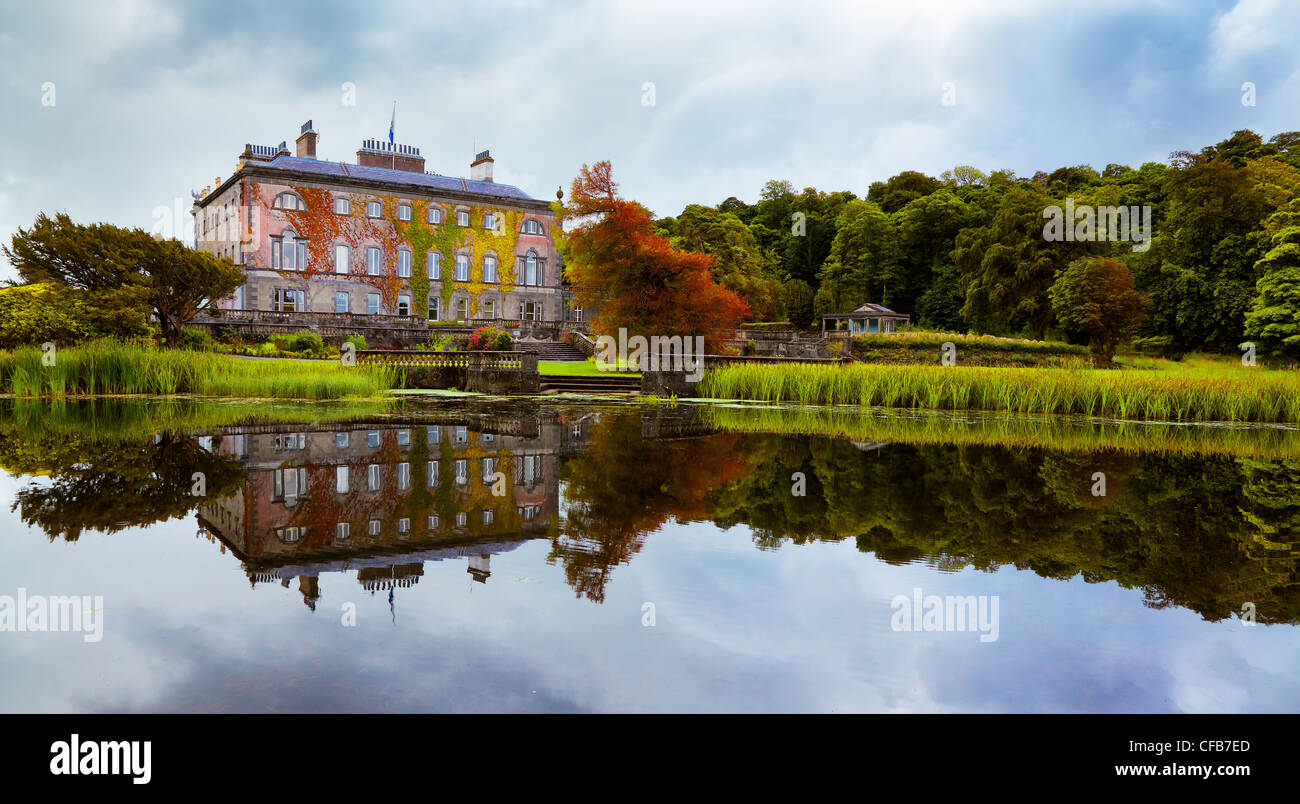 View of Westport house seen from the lake, county Mayo, Ireland. - Stock Image
