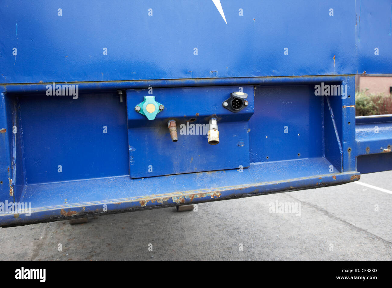 lorry trailer hydraulic and electrical connections - Stock Image