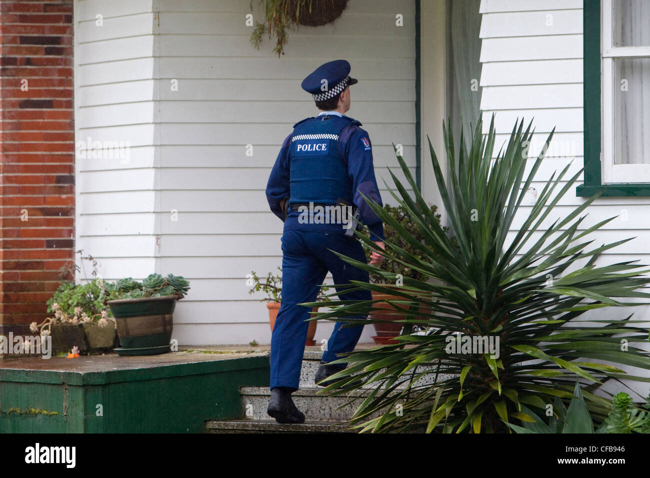 Police make house to house enquiries - Stock Image