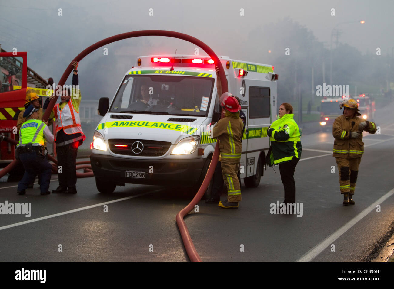 Scene of house fire, East Coast Road, Northcross, Auckland, New Zealand - Stock Image